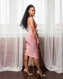 Dusty Pink Drawstring Dress