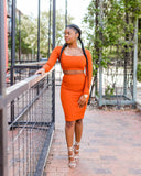 Ribbed Two Piece Skirt Set