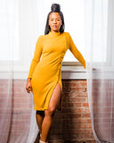 Mustard Sweater Button Dress