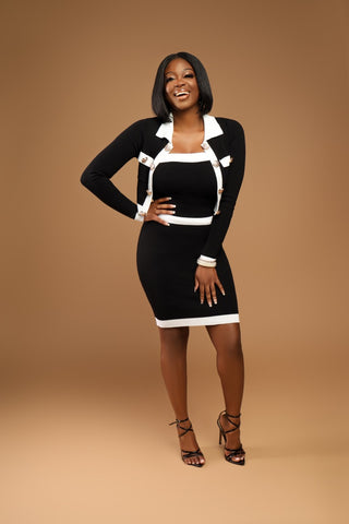I'm the Boss Black & White Dress Set