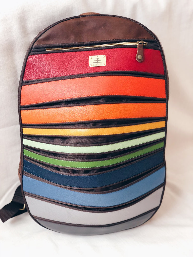 Esztany horizontal stripes leather backpack