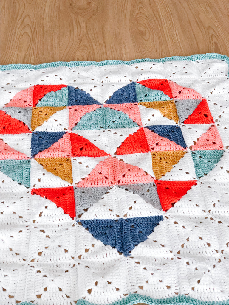 Geometric heart baby blanket