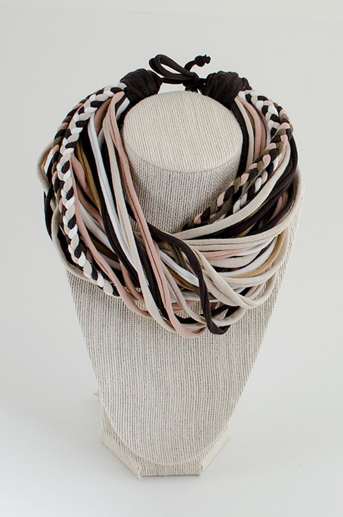 Beige & brown textile necklace