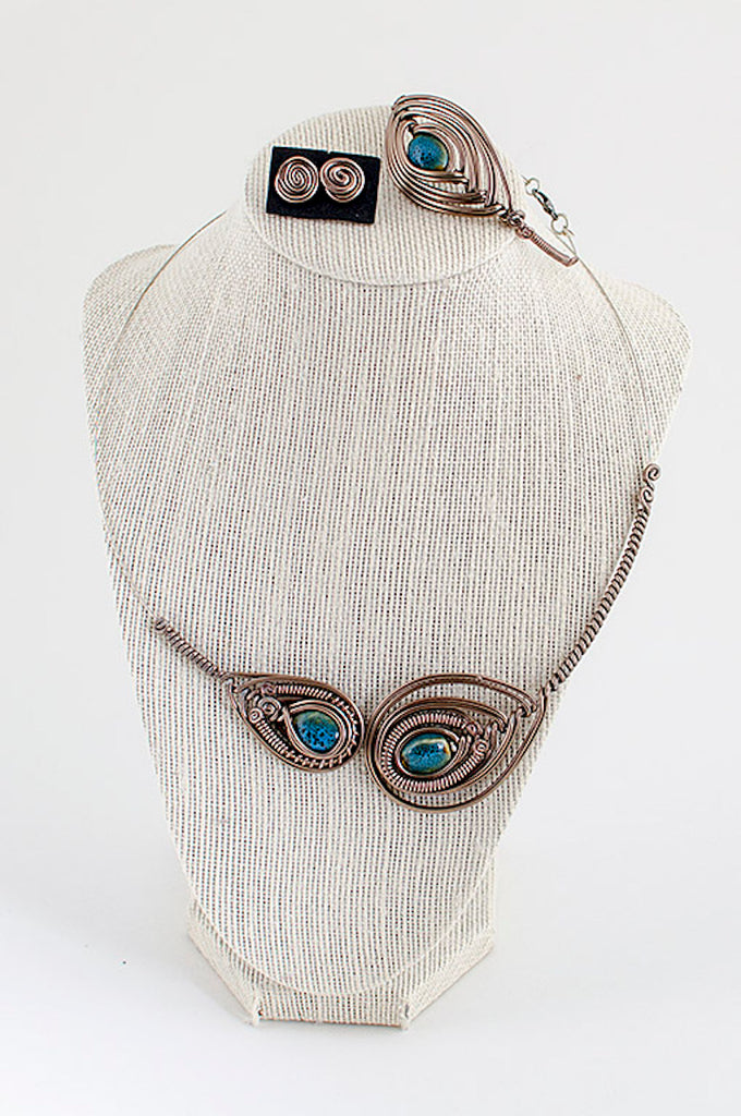 Blue stone copper wire statement necklace (set)