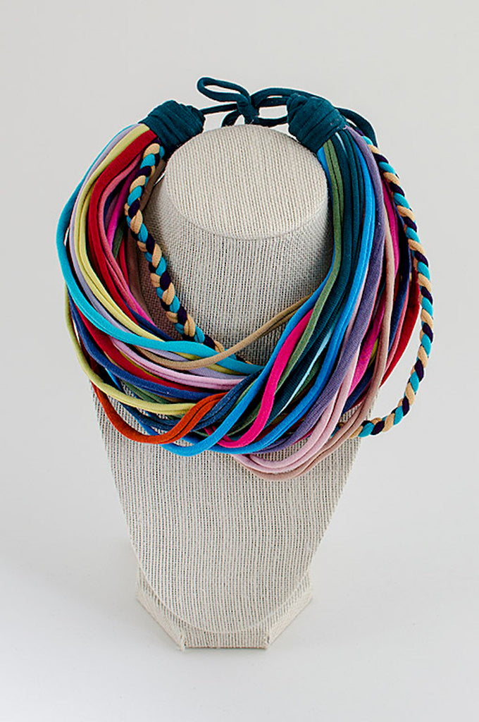 Bright colors textile necklace and bracelet set