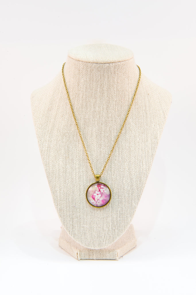 Cherry flowers glass button necklace
