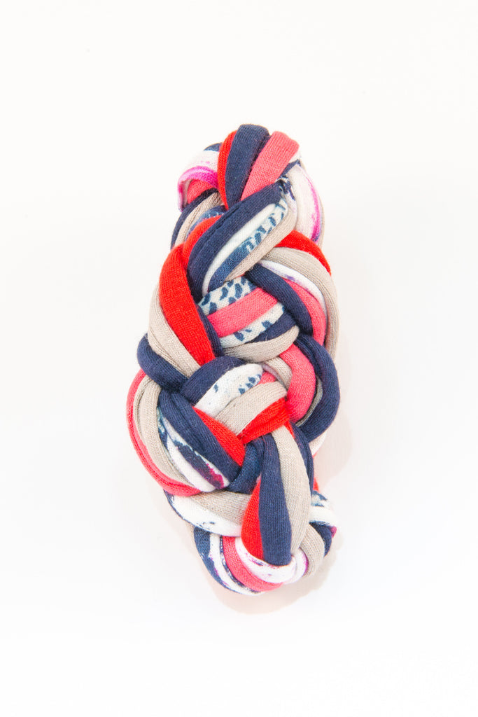 Colorful textile bracelet (red & blue patterns)