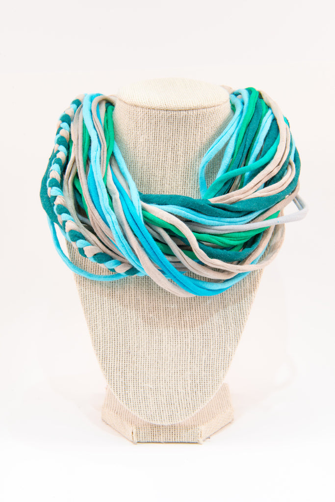 Colorful textile necklace (blue & green)