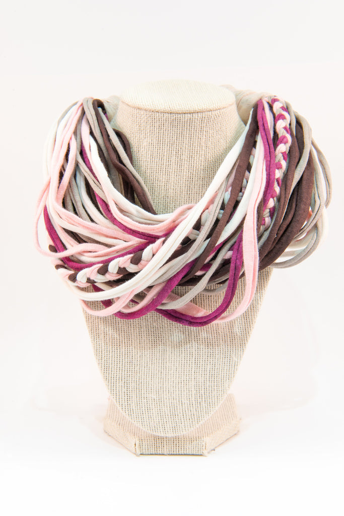Colorful textile necklace (pink & purple)