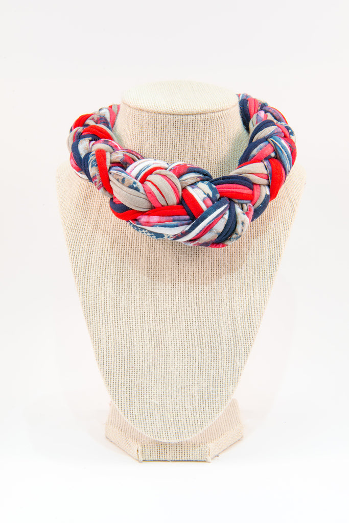 Colorful textile necklace (red & blue patterns)