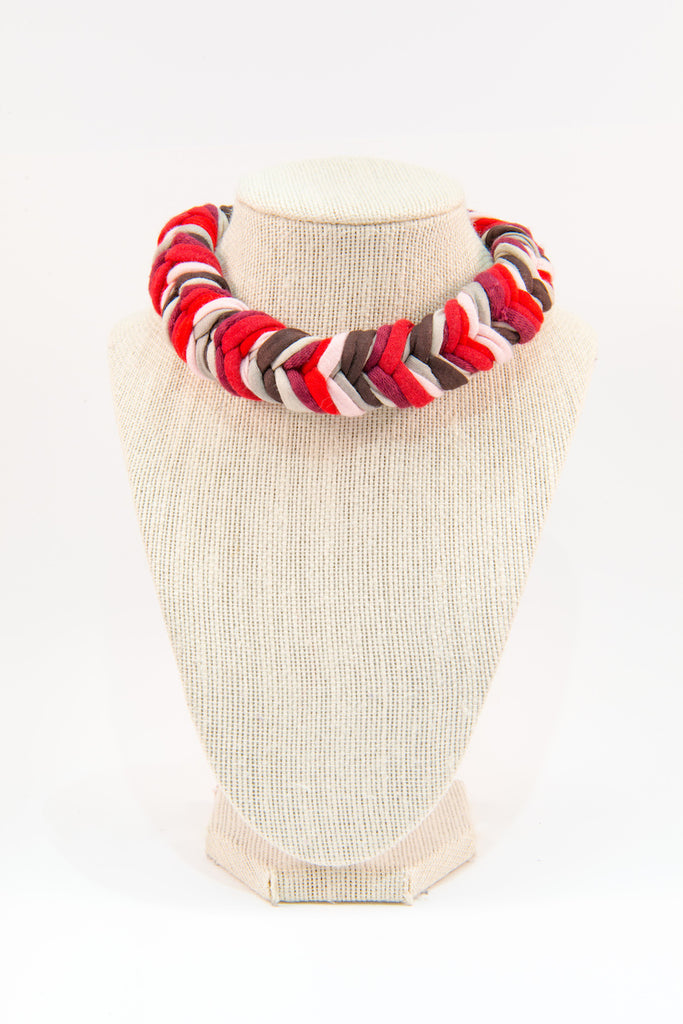 Colorful textile necklace (red & white)