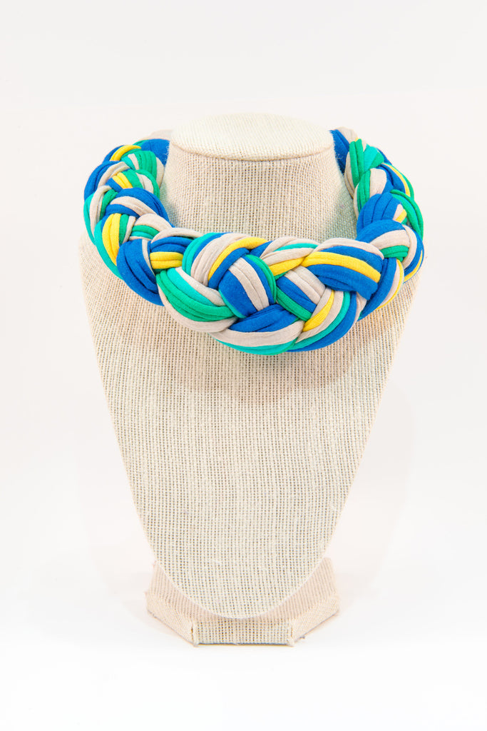 Colorful textile necklace (yellow & blue)