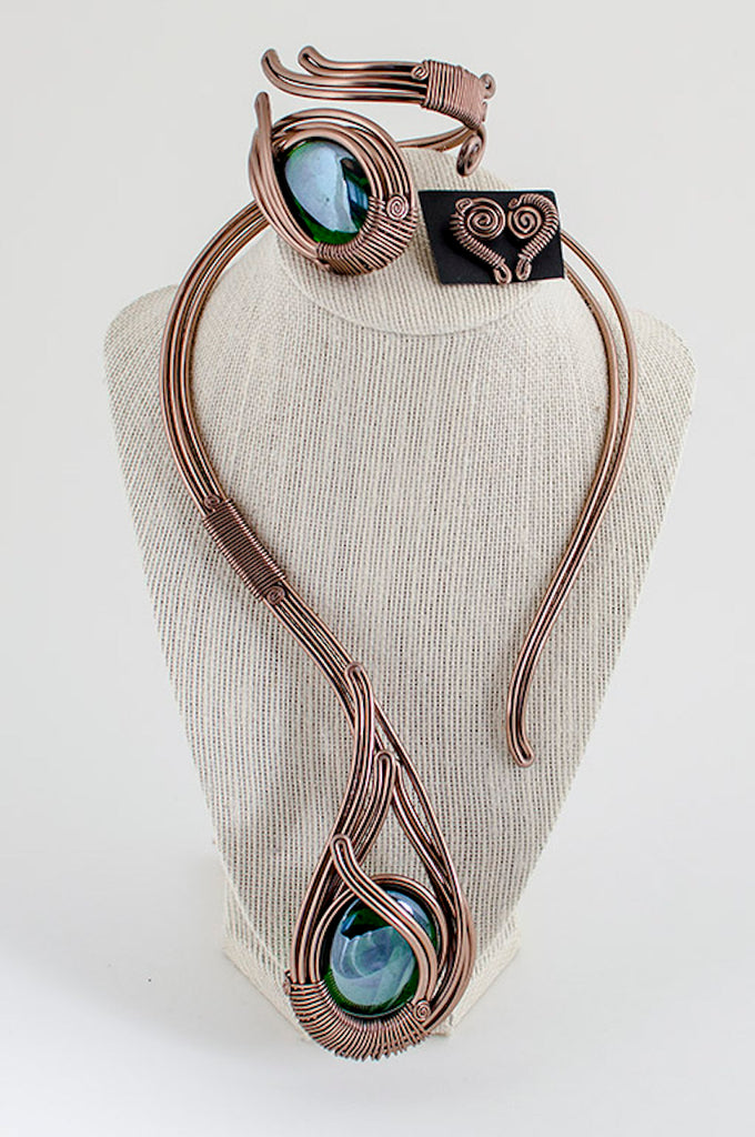 Green glass stone copper wire jewelry set