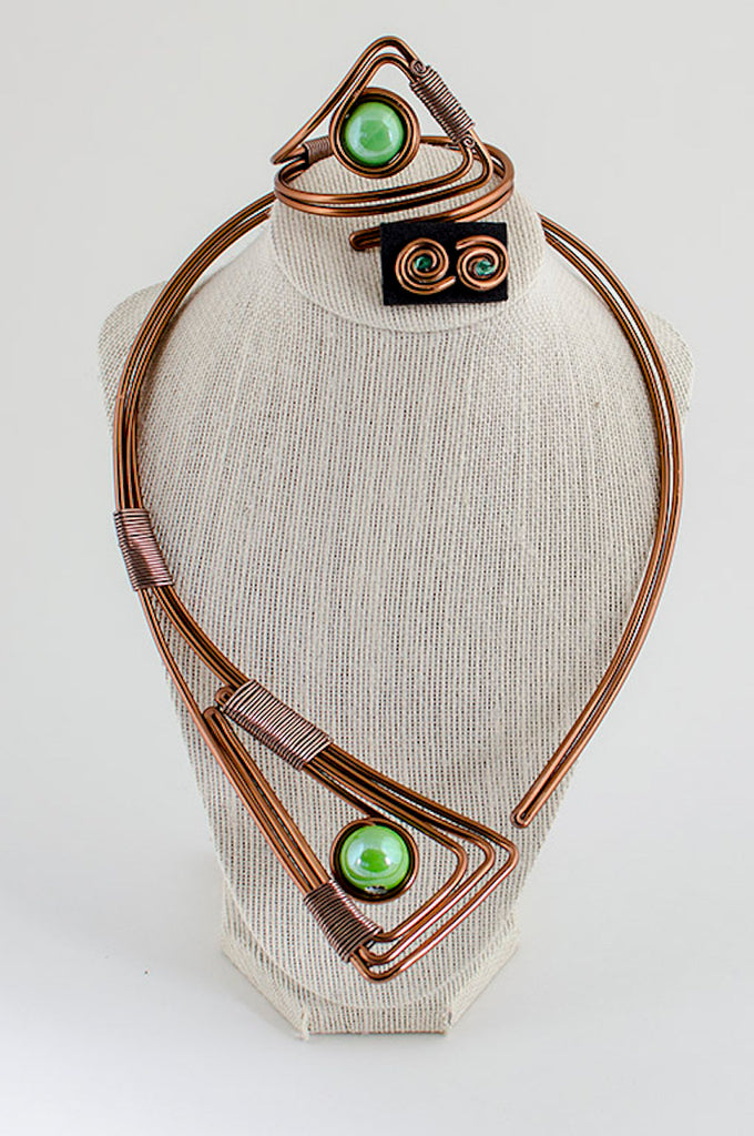 Light green stone copper wire jewelry set