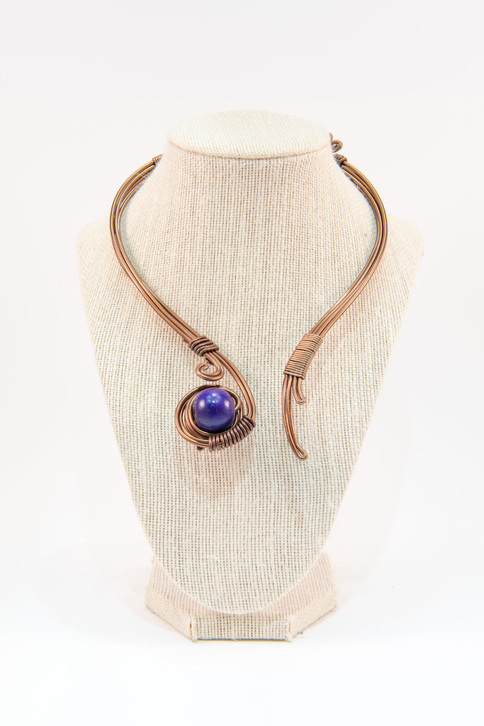 Navy bead copper wire statement necklace