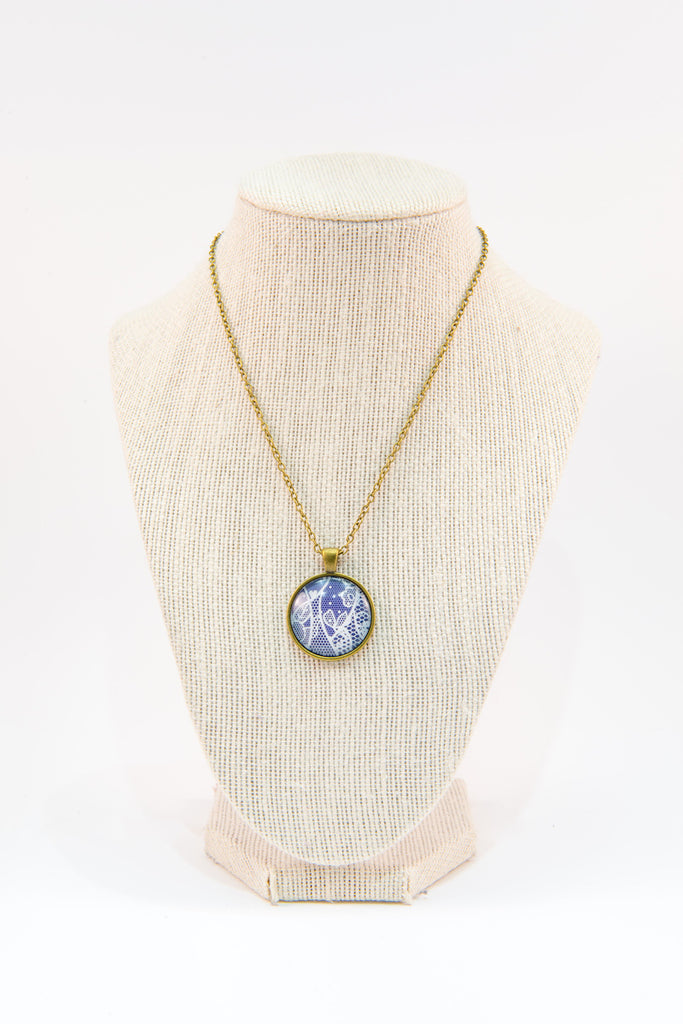 Navy lace glass button necklace