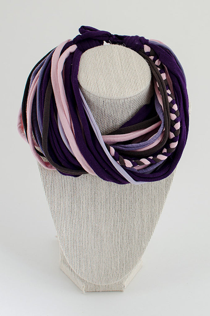Pink and purple textile necklace
