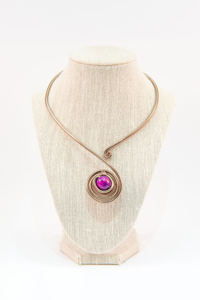 Purple bead copper wire statement necklace