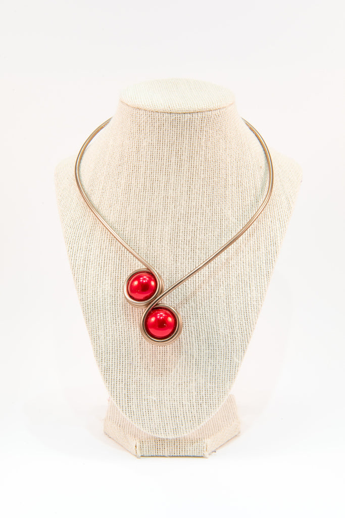 Red beads copper wire statement necklace