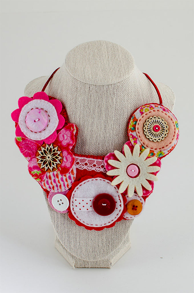 Red & pink textile necklace