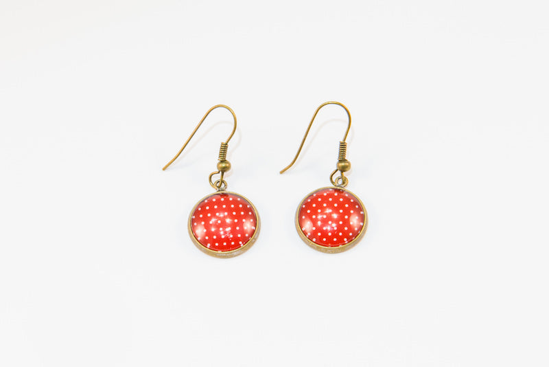 Red polka dot glass button earrings