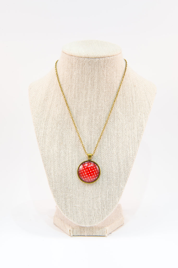 Red polka dot glass button necklace