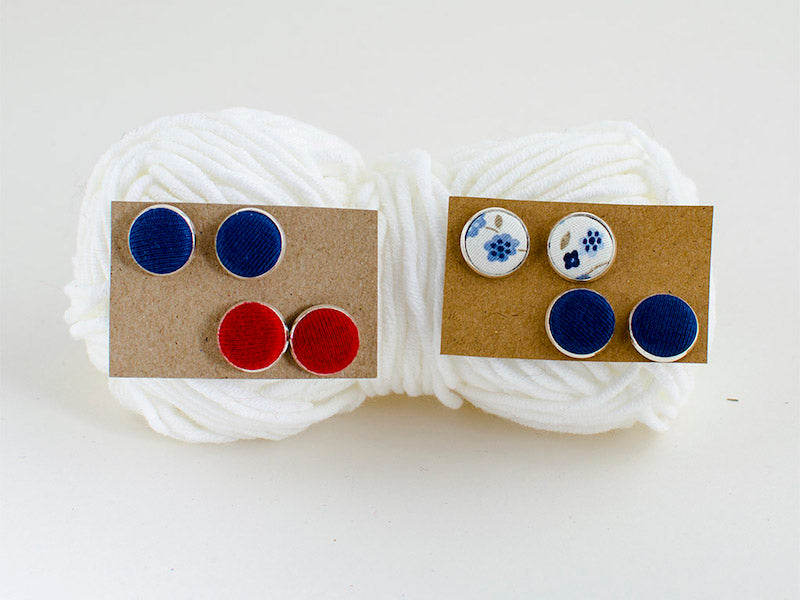 Red, white & blue textile jewelry set