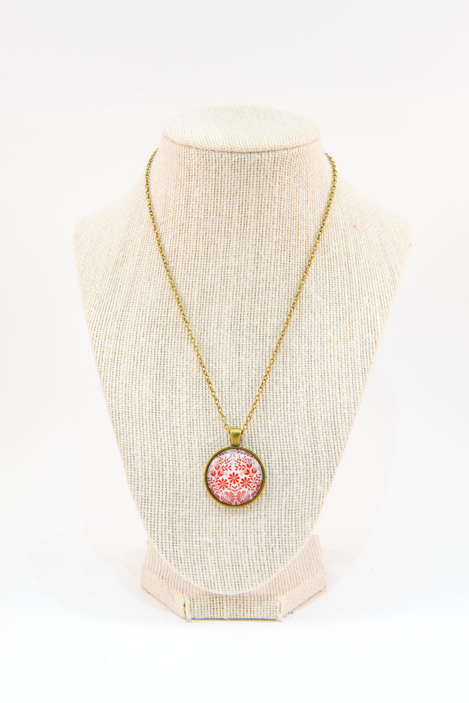 Red & white glass button necklace