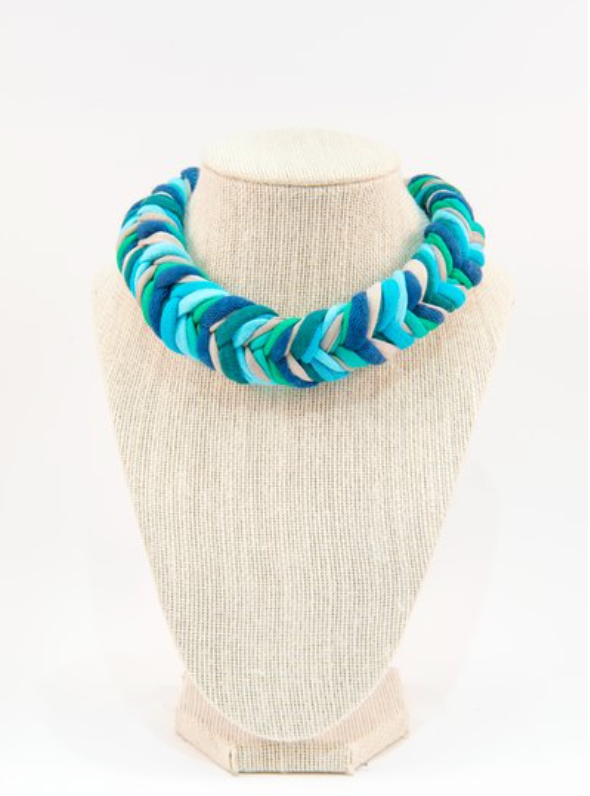 Colorful textile necklace (blue)