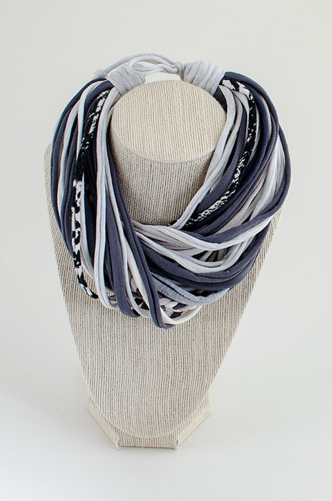 Shades of gray textile necklace