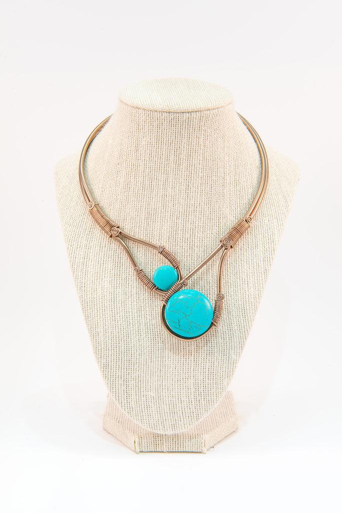 Turquoise stone copper wire statement necklace