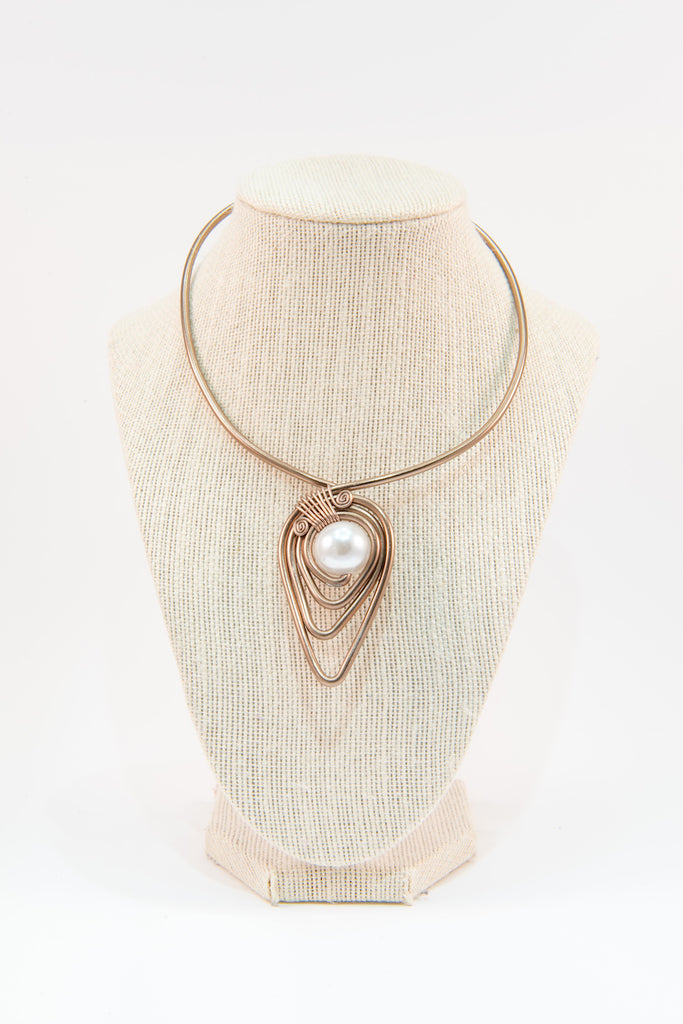 White pearl copper wire statement necklace