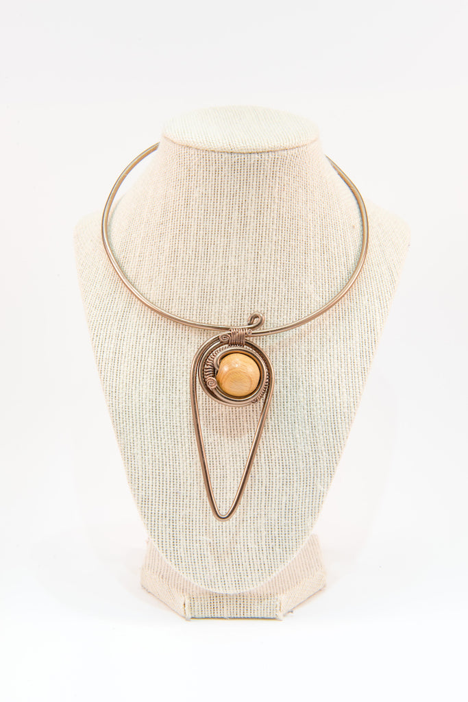 Wooden bead copper wire statement necklace