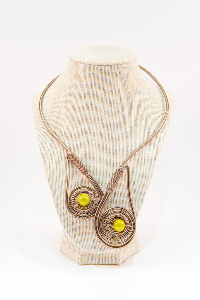 Yellow beads copper wire statement necklace