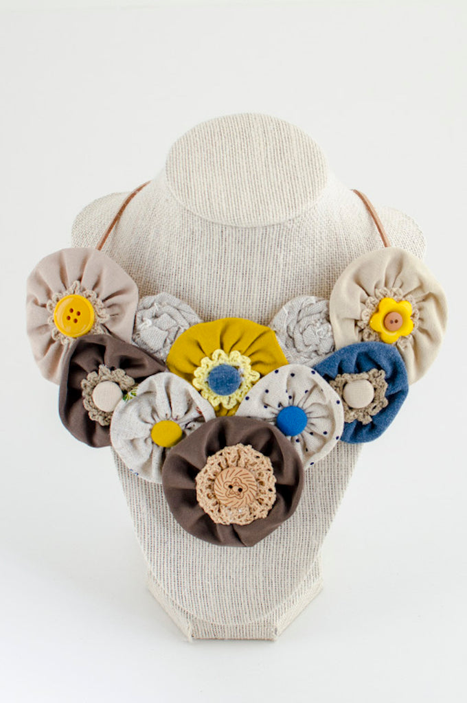 Yellow & blue textile necklace
