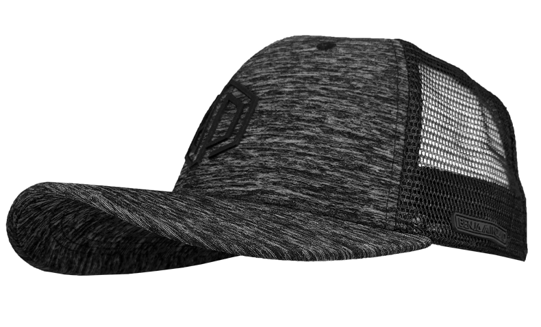 BLACK HEATHER TRUCKER MESH PERFORMANCE HAT