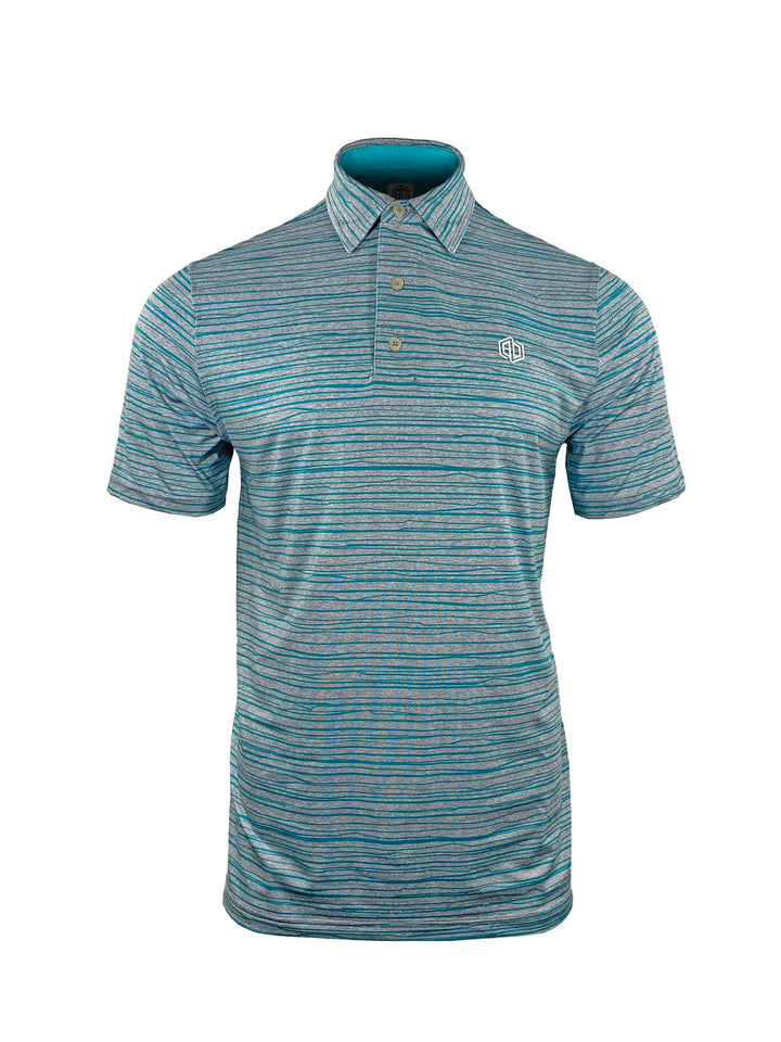 Blue Bolt Stripe Heather Stretch Polo