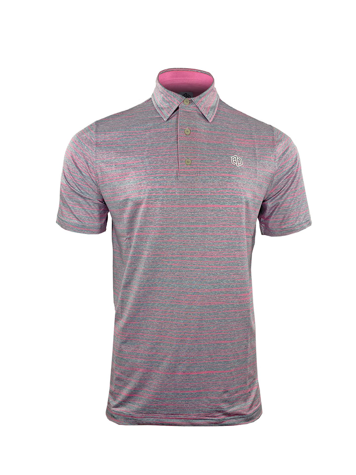 Pink Bolt Stripe Heather Stretch Polo