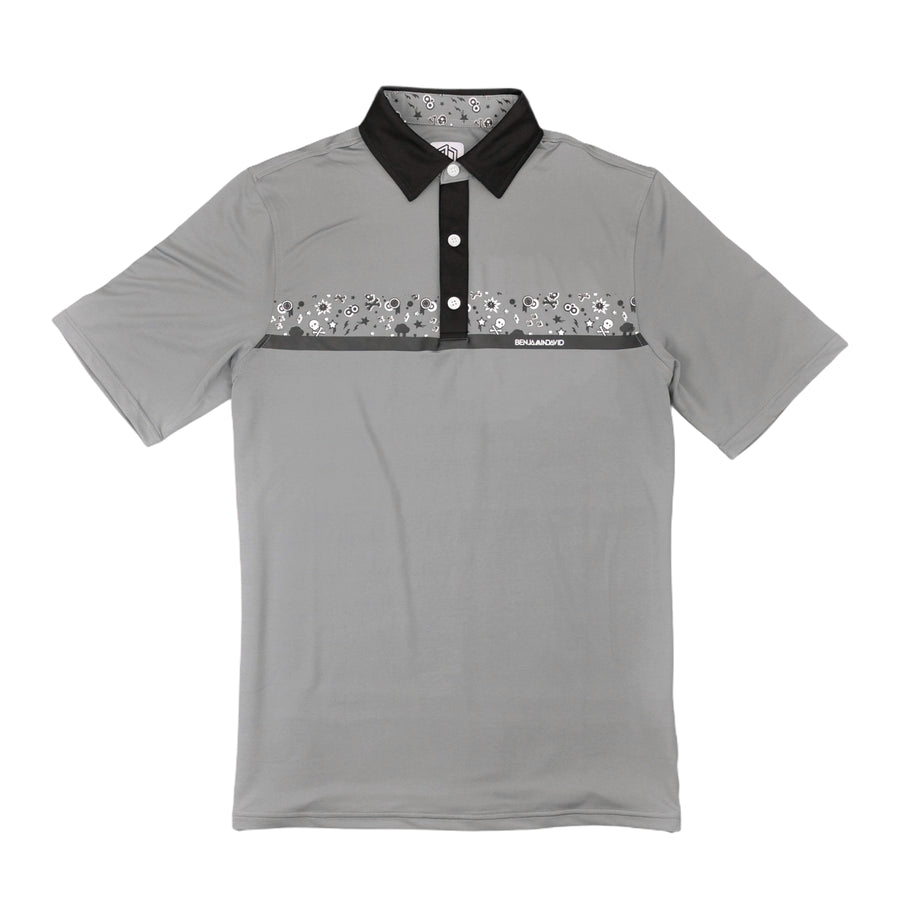 Rocker Stretch Polo: Grey / Black
