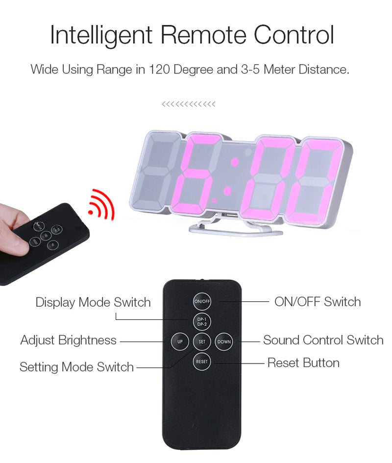 LED Remote Control Sound Control Thermometer Alarm Clock