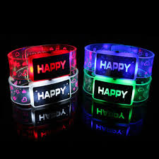 Happy Light Up LED Bracelet Flash Glowing Wristband For Parties