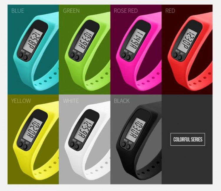 Fashion Digital Watch Colorful Silicone Strap Pedometer Calories