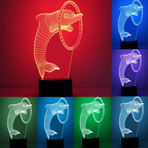3D Optical Dolphin Night LED Light
