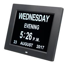 Large Time Wall Clock With Digital Day Week Month Year Calendar Clock