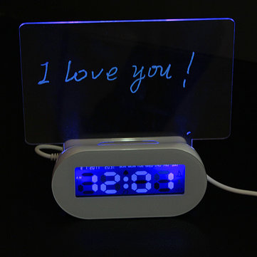 LED Fluorescent Luminous Message Board Alarm Clock