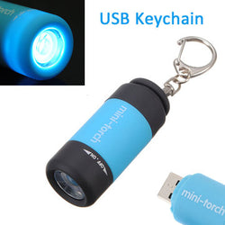 USB Rechargeable LED Flashlight Mini Keychain