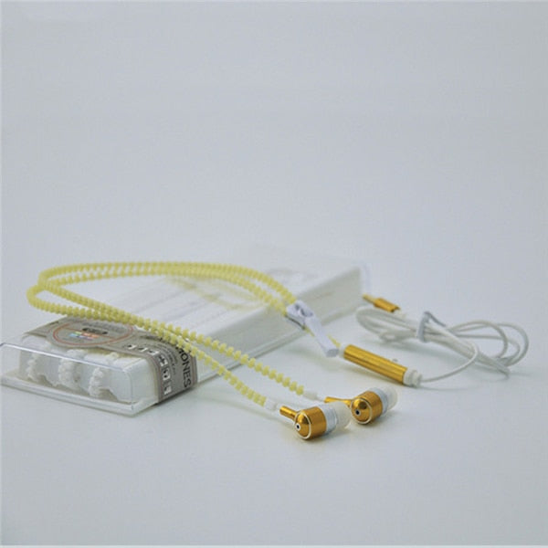 Glow-In-The-Dark Luminous Light Metal Zipper Ear Phones