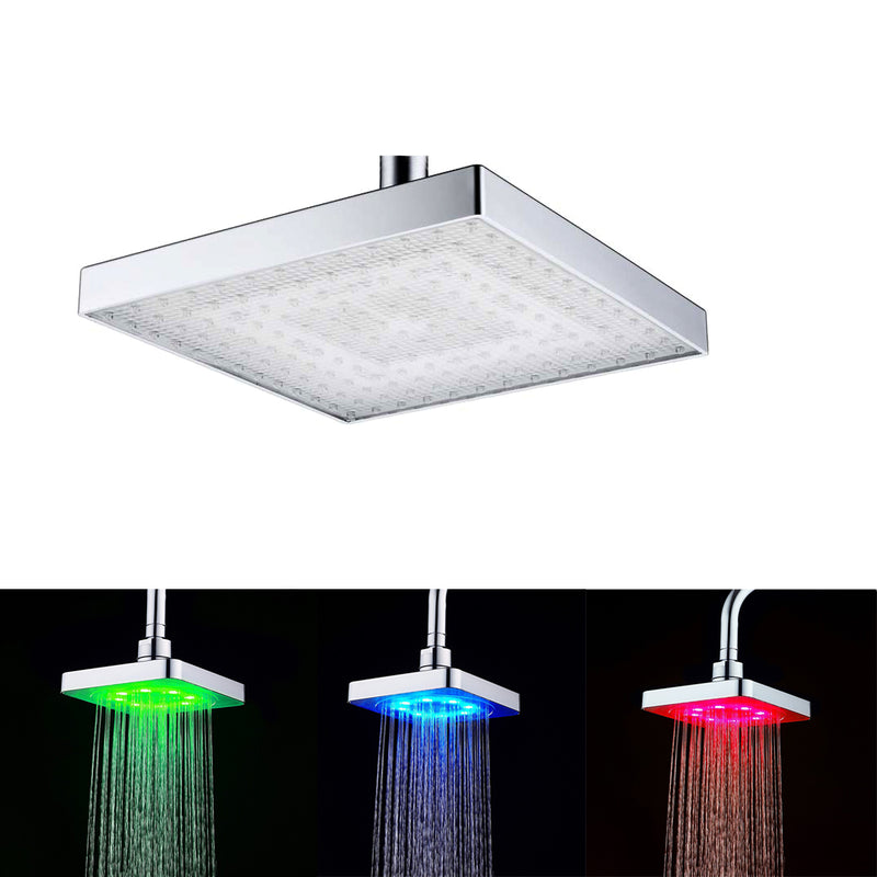 Chrome Water Temperature Controlled Multi-Color LED Shower Head
