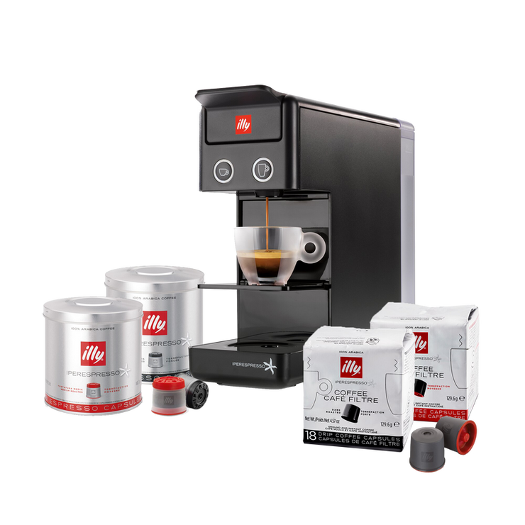 Y3.2 iperEspesso Coffee Machine - Black + 400 Capsules Mixed