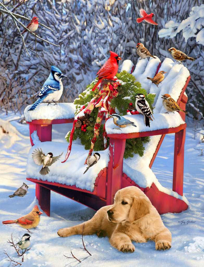 Adirondack Christmas Birds (461 Piece Wooden Jigsaw Puzzle)